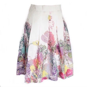 Beulah Style Floral Skirt White & Pink Size Medium